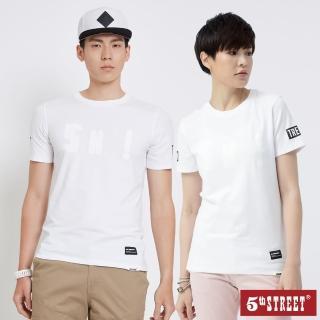 【5th STREET】中性款夜光印花短袖T恤-白色
