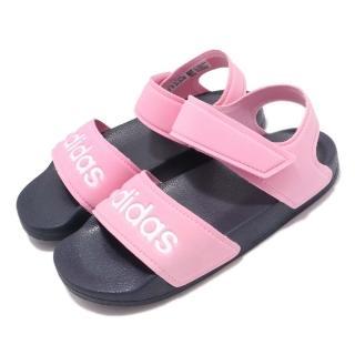 【adidas 愛迪達】涼拖鞋 Adilette Sandal 穿搭 童鞋 愛迪達 輕便 夏日 簡約 舒適 中童 粉 白(G26876)
