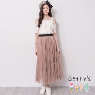 【betty's 貝蒂思】典雅珠飾層次網紗長裙(駝色)