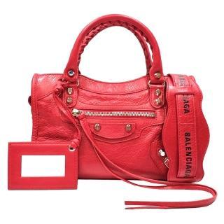【Balenciaga 巴黎世家】Mini City金釦羊皮機車包(紅色 300295.6460)