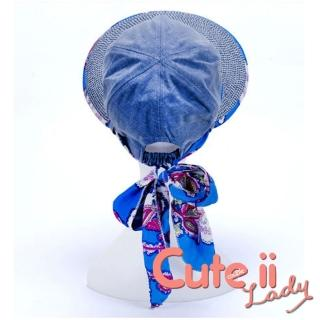 【Cute ii Lady】花彩圖騰大帽檐綁帶造型遮陽帽 防曬帽(牛仔藍)