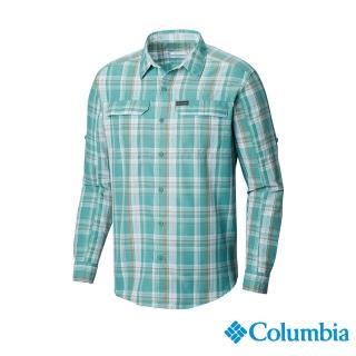 【Columbia 哥倫比亞】男款- UPF50快排長袖襯衫-綠色格紋(UAE06490GX / 排汗.防曬.機能)