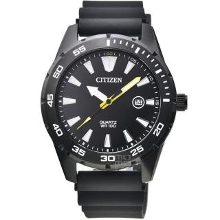 【CITIZEN 星辰】星辰大錶徑石英膠帶錶-IP黑色(BI1045-13E)