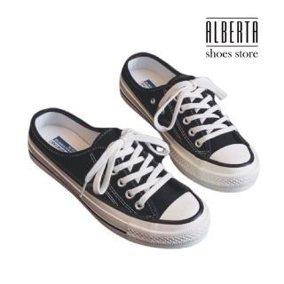 【Alberta】休閒鞋-帆布鞋面 繫帶半包休閒鞋 穆勒鞋 帆布鞋 套腳半包拖鞋