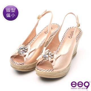 【ee9】MIT經典手工鑲嵌亮鑽鏤空露趾超輕楔型跟涼鞋 香檳(涼鞋)