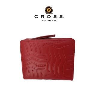 【CROSS】限量2折 頂級NAPPA小牛皮女用短夾零錢包 福利品特價(紅色 專櫃展示品99%新)