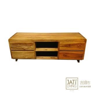 【吉迪市柚木家具】簡約柚木4抽造型電視櫃/視聽櫃