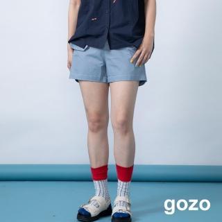 【gozo】造型口袋素面休閒短褲(二色)
