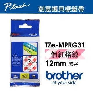 【brother】TZe-MP RG31 創意護貝標籤帶 12mm 俏紅格紋