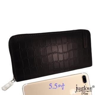 【justloveParis】法國名品頭層牛皮男女真皮皮夾鱷魚紋拉鍊長夾手拿包5.5吋手機包可放20卡(BW-0148-0)
