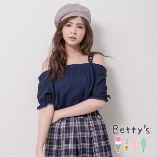 【betty's 貝蒂思】一字領肩帶縫珠雪紡上衣(深藍)