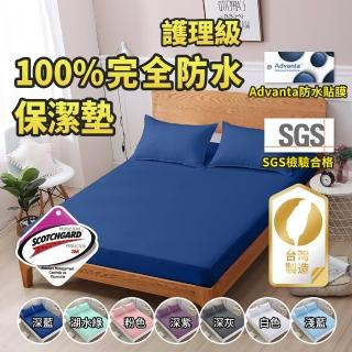 【藍貓BlueCat】護理級100%完全防水保潔墊+雙面防水枕套組(台灣製造 採用3M吸濕排汗技術處理)