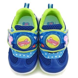 【童鞋城堡】喬治豬 中童 飛機造型電燈運動鞋(PG6421-藍)