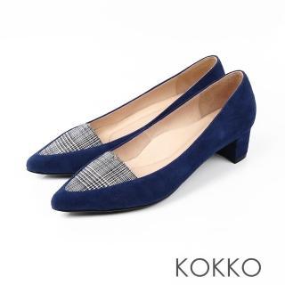 【KOKKO集團】法式優雅尖頭格紋粗跟鞋(英格藍)