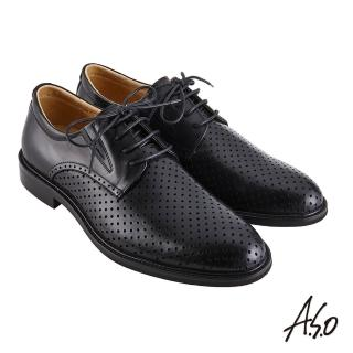 【A.S.O 阿瘦集團】職場通勤 職人通勤刷色沖孔德比紳士鞋(黑色)