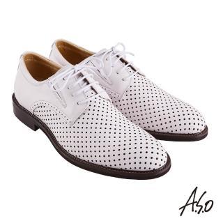 【A.S.O 阿瘦集團】職場通勤 職人通勤刷色沖孔德比紳士鞋(白色)