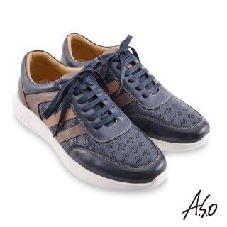 【A.S.O 阿瘦集團】機能休閒 3D超動能幾何壓紋綁帶休閒鞋(深藍)