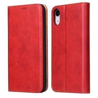 【Fierre Shann】真皮紋 iPhone XR 6.1吋 錢包支架款 手工PU皮套保護殼(磁吸側掀 手工PU皮套)