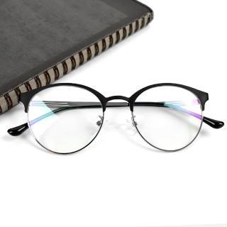 【玖飾時尚】鏡框 黑銀金屬圓半框平光眼鏡(眼鏡)