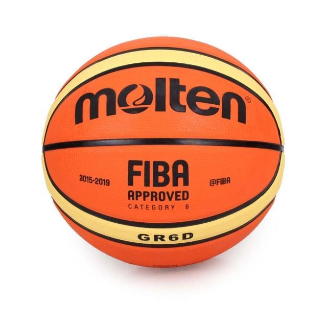 【MOLTEN】#6橡膠深溝12片貼籃球-6號球(BGR6D)