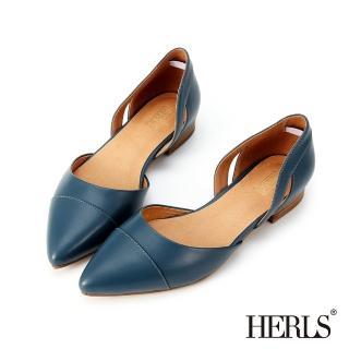 【HERLS】輕恬優雅 內真皮鏤空造型尖頭平底鞋(藍色)