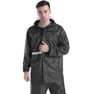 機車戶外活動反光兩件式雨衣雨褲 黑色 多尺寸可選