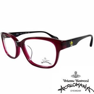 【Vivienne Westwood】ANGLO MANIA系列-五芒土星琥珀撞色光學眼鏡(AN282-04-紅琥珀+黑)