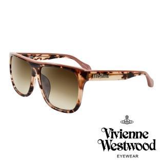 【Vivienne Westwood】ANGLO MANIA系列-英倫時尚經典LOGO太陽眼鏡(AN844-02-琥珀蜜橙)