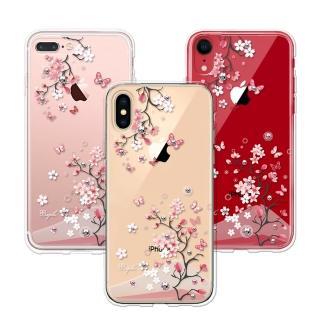 【apbs】iPhone系列施華彩鑽防震雙料手機殼-日本櫻(XS MAX/XS/X/XR/8/7/6s/6)