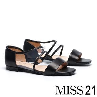 【MISS 21】個性曲線一字造型拼接羊皮平底涼鞋(黑)