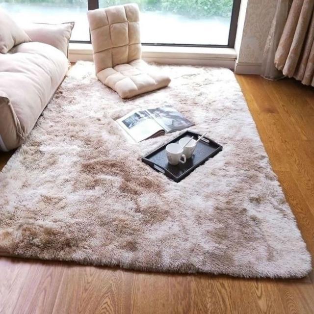 現代長毛染色可水洗地毯地墊80*120cm染駝色/