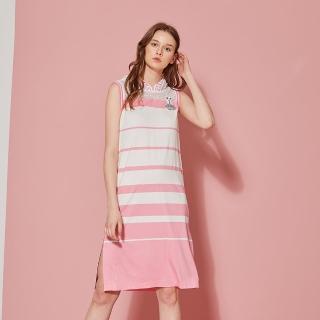 【ICHE 衣哲】輕時尚連帽拼接針織條紋印花洋裝-櫻花粉