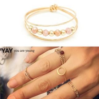 【YAY You Are Young】法國品牌 Riviera 玫瑰粉太陽石戒指 金色三層款(太陽石戒指)