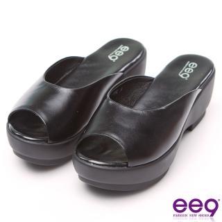 【ee9】經典素面百搭魚口露趾楔型跟拖鞋 黑色(楔型跟魚口拖鞋)
