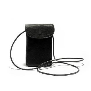 【米蘭精品】手機包真皮側背包(羊皮簡約黑色小巧女包情人節生日禮物73vd13)