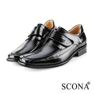 【SCONA 蘇格南】全真皮 經典素面側帶紳士鞋(黑色 0863-1)