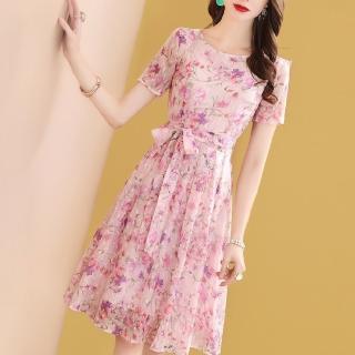 【FQ時尚天后】粉紅桃紫花枝條雪紡綁帶洋裝(S-2XL)