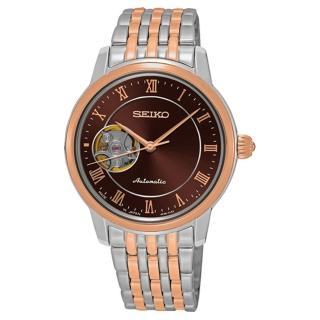 【SEIKO 精工】Presage 開芯女孩經典機械錶-咖啡雙色34mm(4R38-01A0P/SSA852J1)