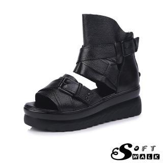 【SOFT WALK 舒步】真皮魚嘴露趾皮帶釦飾個性鬆糕厚底羅馬涼鞋(黑)