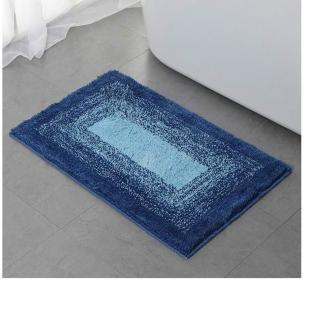 簡約吸水防滑地墊臥室浴室客廳腳墊門墊50*80cm回形藍