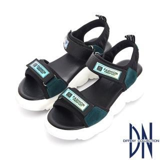 【DN】運動時尚 牛皮拼接寬帶魔鬼氈厚底涼鞋(綠)
