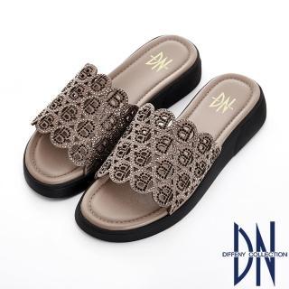 【DN】浪漫舒適 真皮水鑽字母拼接舒適涼拖鞋(灰銅)