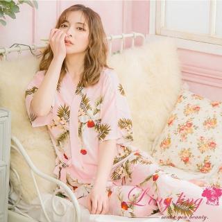 【lingling】PA4014全尺碼-滿版印花綁結側邊開叉短袖二件式睡衣組(甜心粉)