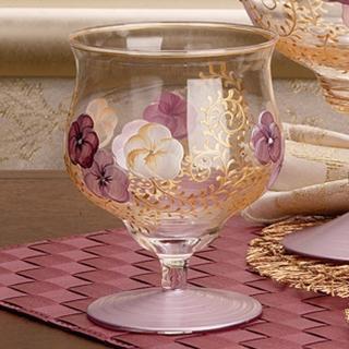 【Madiggan 貝斯麗】鬱金香系列 手工彩繪寬口短腳燭杯(湛藍.紫紅二色任選)