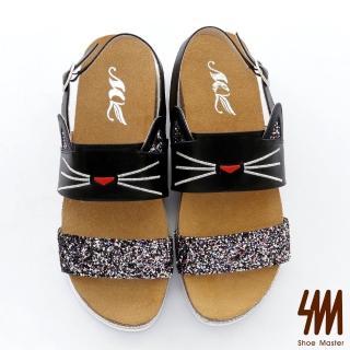 【MK】夢幻森林系列-真皮手作耀眼一字亮片可愛貓咪厚底後勾涼鞋-黑色/白色(兩色)