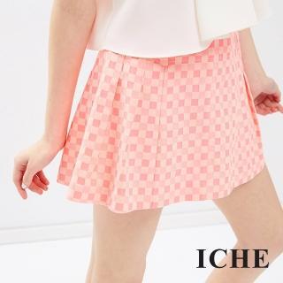 【ICHE 衣哲】深淺格紋打褶短裙