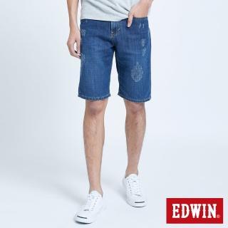 【EDWIN】五袋微破牛仔短褲-男款(石洗藍)