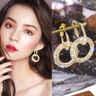 【Emi 艾迷】韓國925銀針華麗獨領風騷圈圈鋯石耳環