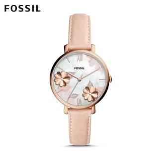 【FOSSIL】JACQUELINE  花漾粉色皮革手錶 ES4671