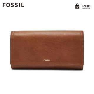 【FOSSIL】LOGAN 咖啡色三折真皮拉鍊RFID長夾SL7833200